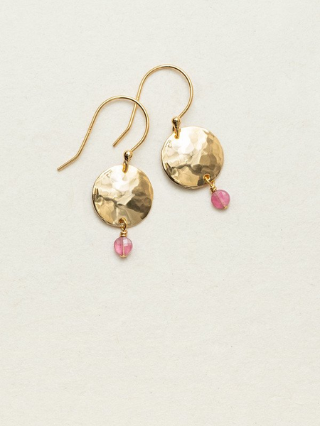 Holly Yashi Constance Earrings. Lightly faceted pastille stones are suspended from hand-hammered medallions giving you flirty winks of sparkling color and flashes of mirror-like shine. As such an easy grab-and-go accent, our Constance Earrings will surely remain a constant player in your daily accessorizing game.