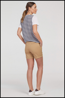 "Tribal Fly Front Short With Cuff. You will be looking fabulous in these Tribal fly front shorts. These shorts by Tribal feature not-too-long, not-too-short inseam and 5"" length with a cuffed bottom. They have four handy pockets which makes this piece perfect for daily wear from sun-up to sundown. Featuring a polka-a-dot inner waistband and drawstring."