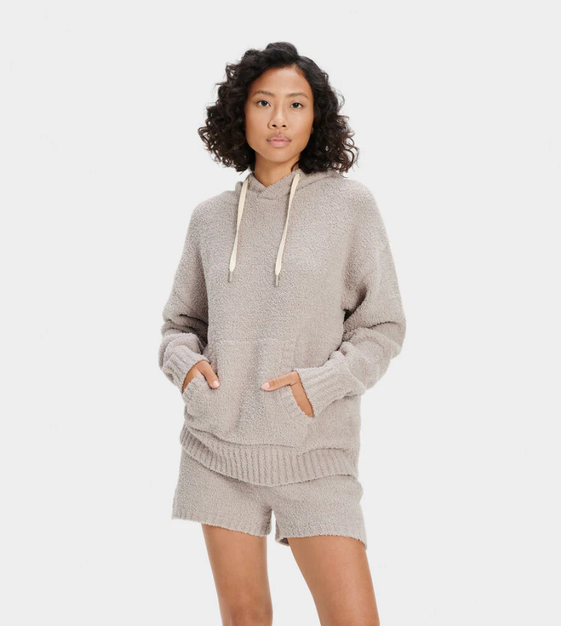 UGG Asala Hoodie. Made with 70% recycled polyester fibers, our cozy knit is iconically soft, lending a textured twist to any outfit. Adding this mindfully-sourced material to a versatile, wear-with-anything pullover silhouette, the Asala is an everyday basic with timeless hoodie details like ribbed cuffs and hem, convenient kangaroo pockets, and an adjustable drawcord. Stylish and snuggly, you'll never want to take it off.