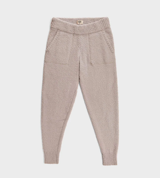 UGG Safiya Jogger. Made with 70% recycled polyester fibers, our cozy knit is iconically soft, lending a textured twist to any outfit. Adding this mindfully-sourced material to a timeless jogger silhouette, the Safiya offers a relaxed fit that's perfect for wearing out or just lounging around. Finished with ribbed cuffs, an elasticized waistband, and convenient front pockets, it's sure to be your new go-to.