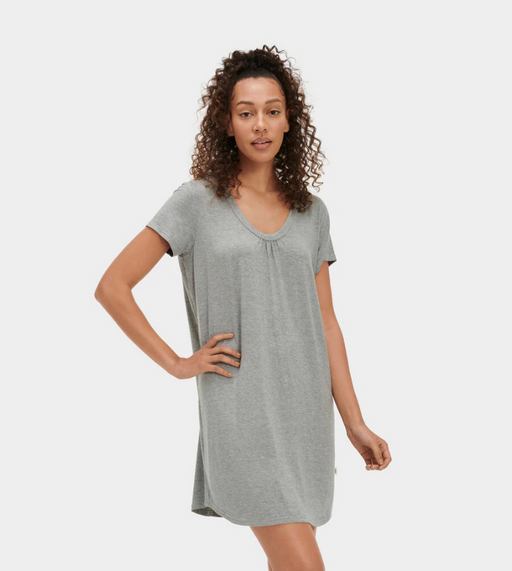With its flattering scoop neck and fresh colors, this lightweight jersey knit sleep dress is perfect for warmer temperatures. Pair with our cozy slippers for top-to-bottom softness.