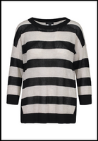 Tribal Open Stitch Cotton Stripe Sweater. This popular stripe knit sweater can be cool and casual or totally chic all at once. Its relaxed drop shoulder and crew neck silhouette is super modern all on its own, and can be made preppy layered over a collared shirt.