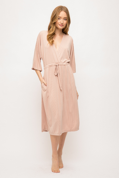 Mystree Dolman Sleeve Ribbed Midi Dress