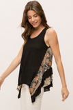 Mystree Sleeveless Mix Media Ruffle Hem Top