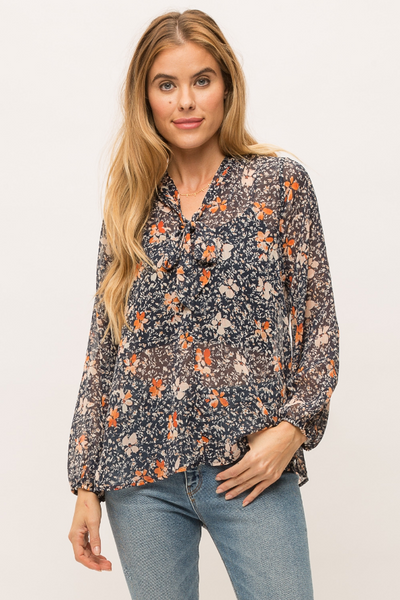 Mystree Soft Floral Print Tie Neck Blouse
