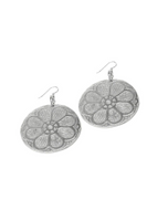 Trades Daisy Embossed Recycled Aluminum Earrings AE25203
