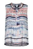 Tribal Tuck Pleat Printed Blouse With Embroidered Pom Pom Hem