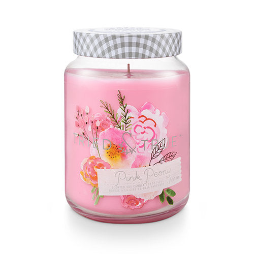 Enjoy the natural scents and cottage garden-inspired design of the Tried & True Pink Peony Jar Candle in any room of your home. Each is made with soy wax and accented with galvanized metal for a rustic farmhouse touch.