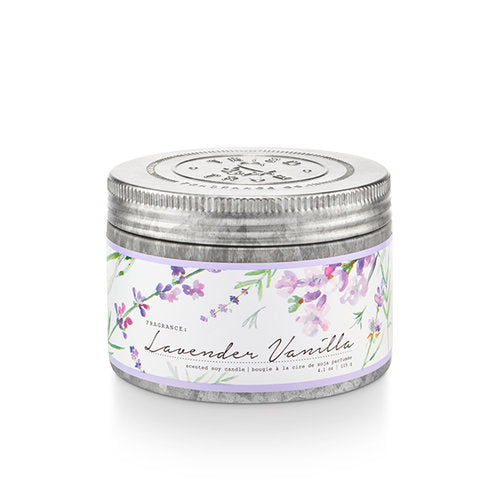 Enjoy the natural scents and cottage garden-inspired design of the Tried & True Lavender Vanilla Tin Candle in any room of your home. Each is made with soy wax and accented with galvanized metal for a rustic farmhouse touch.
