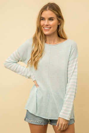 PULLOVER SWEATER FEATURED IN A SOFT COTTON FABRIC WITH STRIPE SLEEVE DETAIL  -100% COTTON