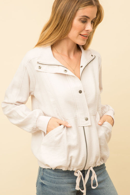 ZIP AND SNAP CLOSURE SOFT JACKET  -85% RAYON 15% NYLON / CONTRAST 50% POLYESTER 50% RAYON / CONTRAST2 95% COTTON 5% SPANDEX Long Sleeve Pocket Zip-up