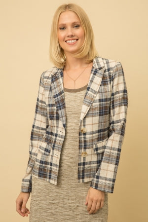 Mystree Linen Blend Boyfriend Plaid Blaze Jacket