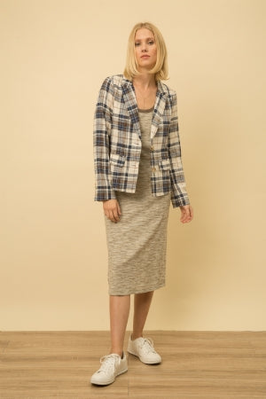 Mystree Linen Blend Boyfriend Plaid Blaze Jacket  -65% COTTON 35% LINEN