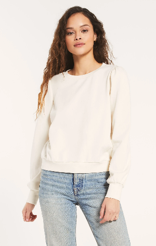 Feminine puff sleeves take center stage in the Zoe Sweatshirt, made from our soft 100% cotton french terry knit fabric. This comfy crewneck pullover has a relaxed fit with ribbed details and pairs well with denim or leggings for an appealing style you'll love all season.