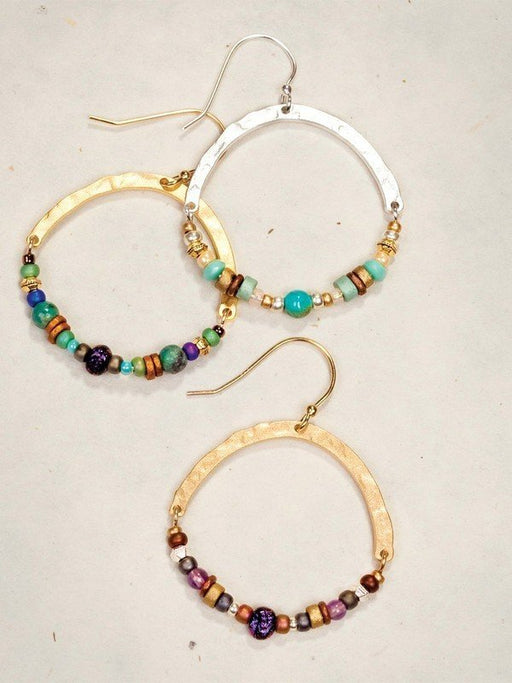 Earrings that encompass the strong elemental connections we have to the earth, our Terra Earrings feature hand-hammered metal, natural stones, and a spectrum of colors to honor the vibrant palette of nature.