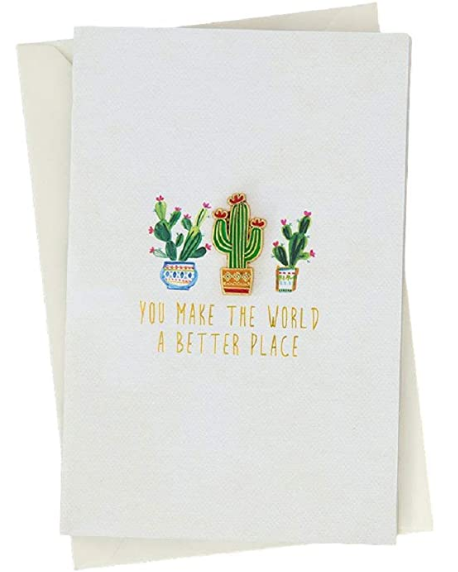 "Natural Life Cactus Enamel Pin / Greeting Card All Occasion Card is Blank on the Inside Card Cover Reads ""You Make The World A Better Place"" Card - 5.25in L x 3.5in W, Pin - 1in T"