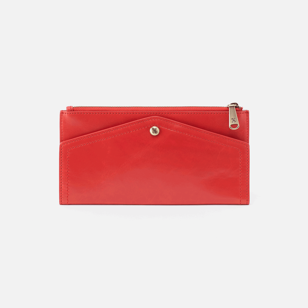 Featuring an envelope design, the Esprit wallet folds open, revealing slots for your cards, cash, and ID. It also features a zipper pocket at the bottom for extra storage. Crafted in our signature vintage hide leather that only gets more beautiful over time with use and wear.