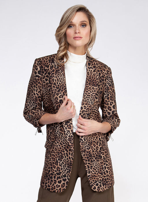 Black Tape Blazer in Leopard. 3/4 sleeves and faux front pockets. Thicker than our Summer blazers, this style will be perfect for cooler days. Black lining cuffed sleeves.  Fit: True to size  Materials: 95% Polyester, 4% Spandex