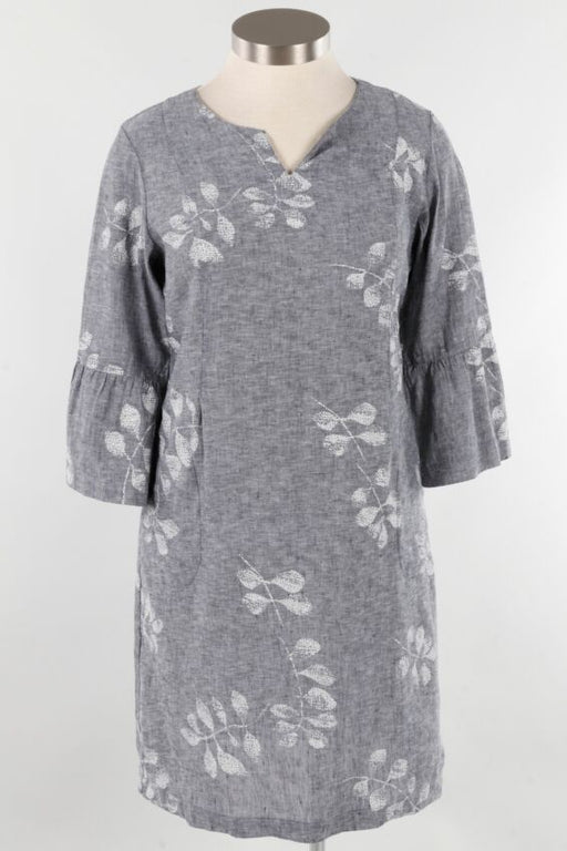Hand blocked cascading vines adorn this darling cross dyed linen dress. A shift style with front and back seams for shaping, a split collar neckline and hidden side pockets. Finished with feminine three quarter flounce sleeves, grab you sandals and you're off in style. 80% linen, 20% cotton machine wash warm, tumble dry low