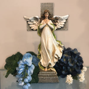 Memorial Angel with Cross Garden Statue