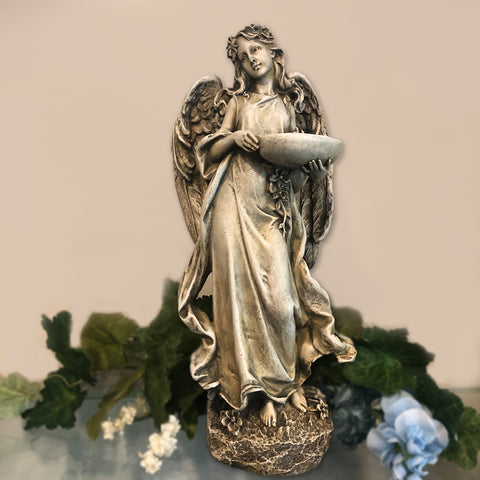 Angel Statue With Bird Bowl
