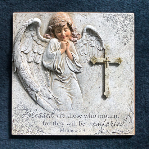 10.5'' Angel with Cross Plaque