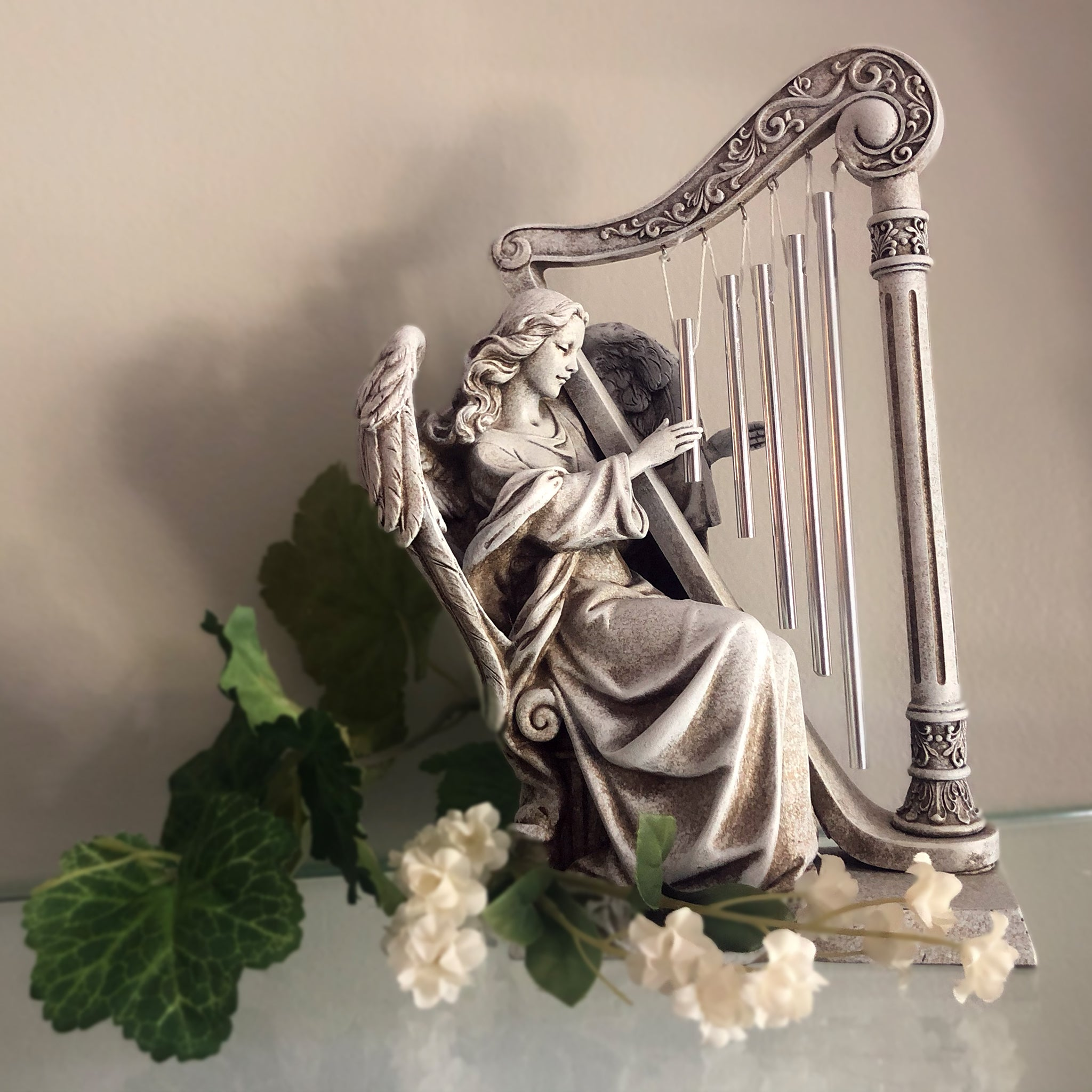 Angel with Wind Chime Harp