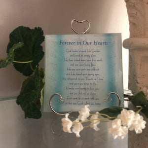Forever in Our Hearts Glass Memorial Plaque