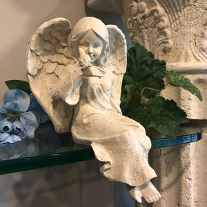 Ivory Stone Cherub With Bird