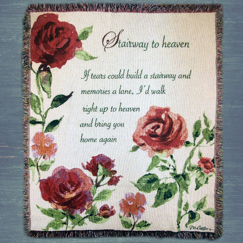Stairway to Heaven Red Rose Throw