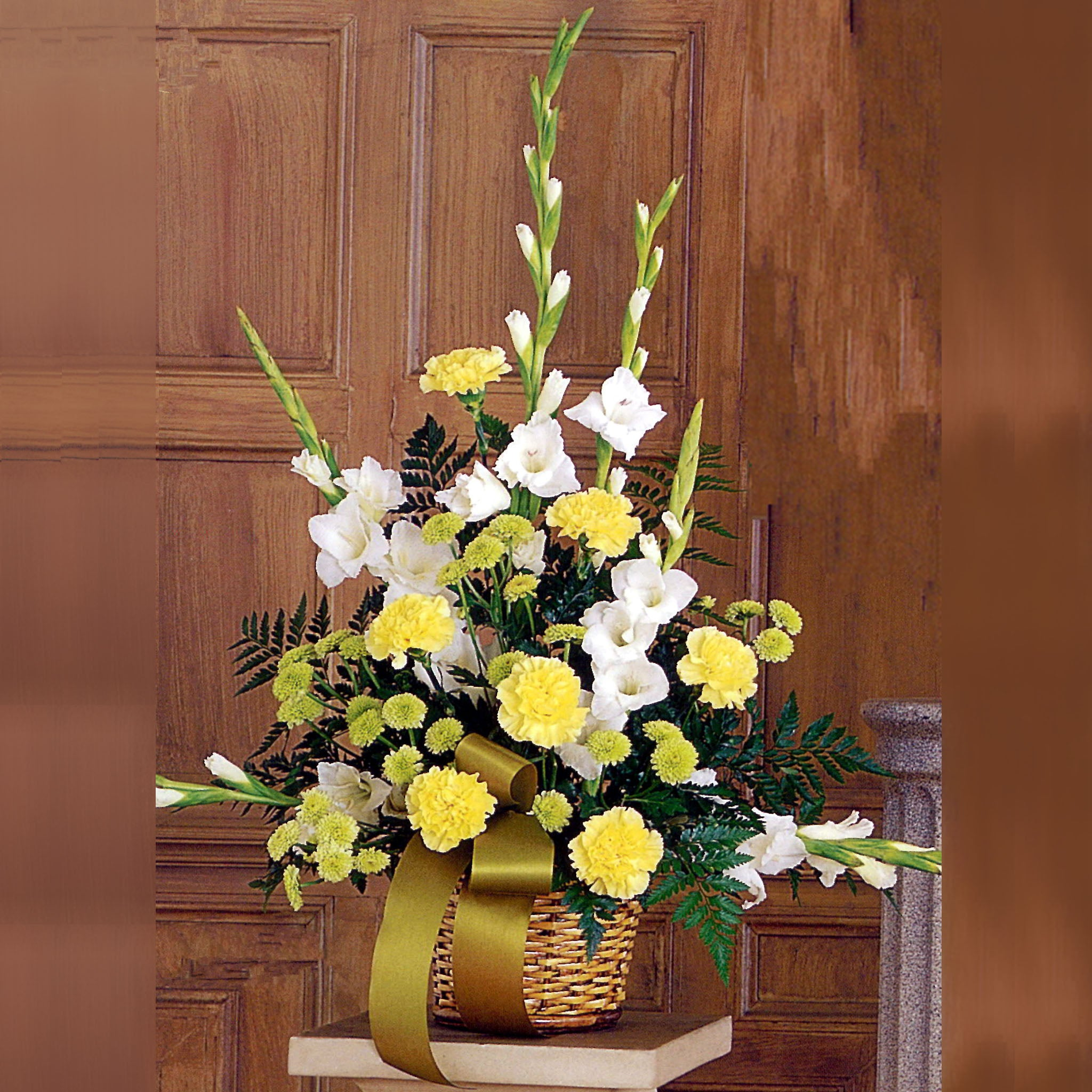 Vivid Yellow and White Funeral Floral Arrangement