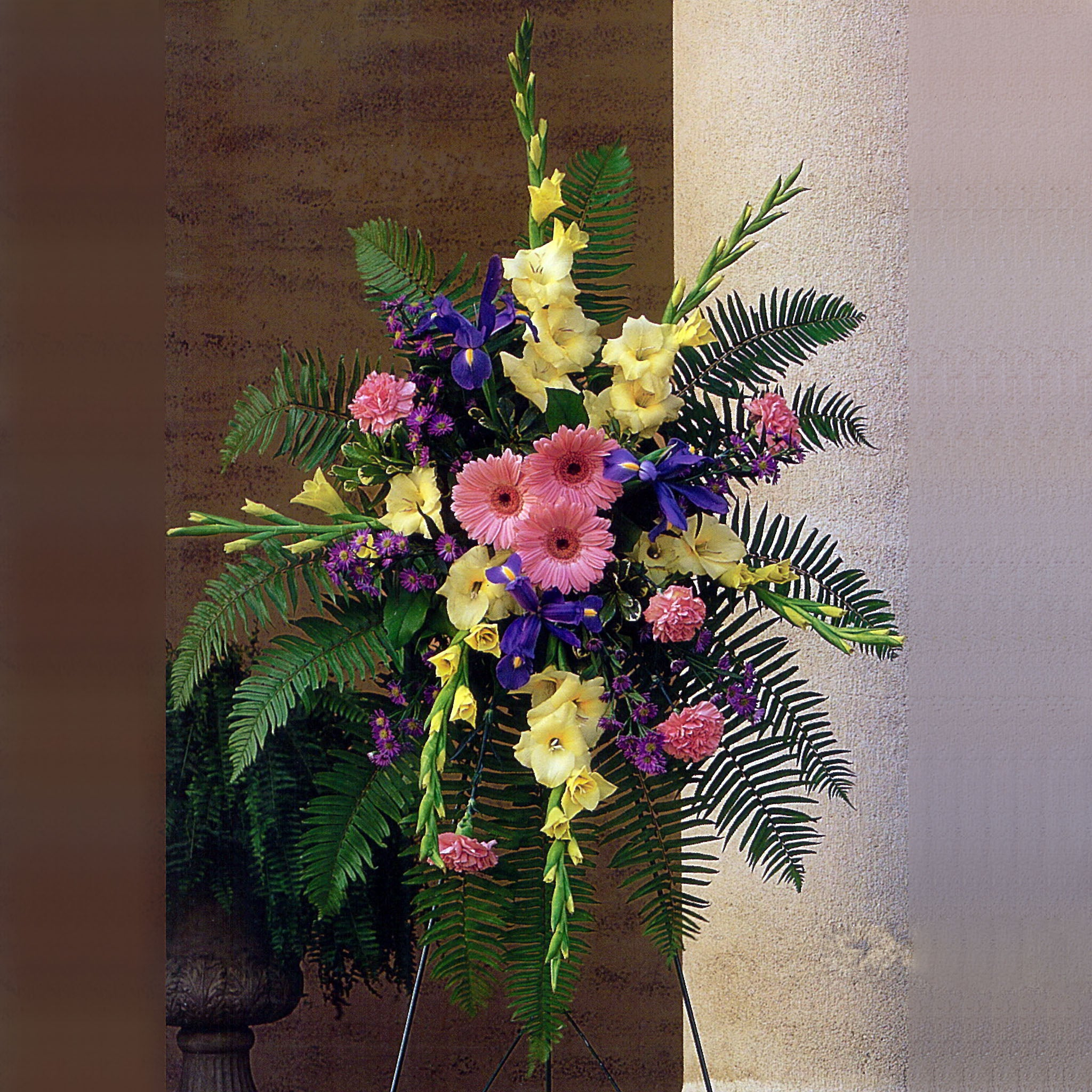 Standing Arrangement of Brightly Colored Arrangement