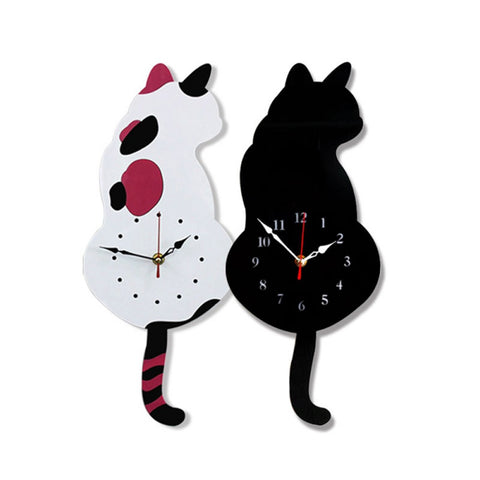 Acrylic Tail Shaking Cat Wall Hanging Clock
