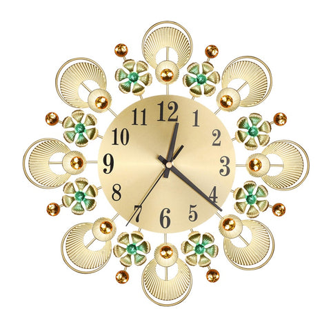Metal Luxury Flower Crystal Wall Clock With Arabic Numerals