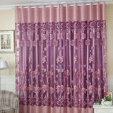 Flower Tulle Window Curtain Set of Blackout Sheer Curtain