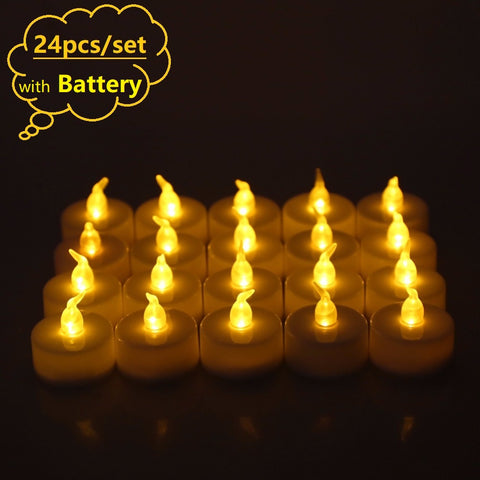Rantion 24packs Flickering Led Candle Flameless Electric Battery Tea Candles Led Lights Wedding Party Xmas Holiday Decor