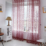Sheer Leaves Printed Curtain Drape