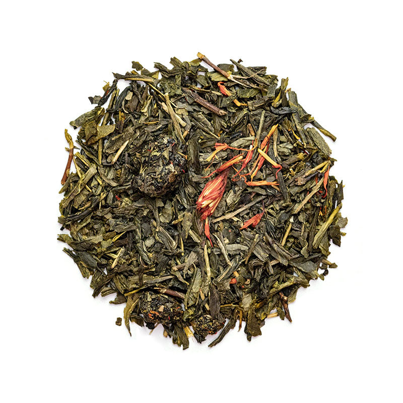 Cherry Green Tea - Premium Loose Leaf Green Tea (4 oz) - High Caffeine - Earthy, Flower Blend