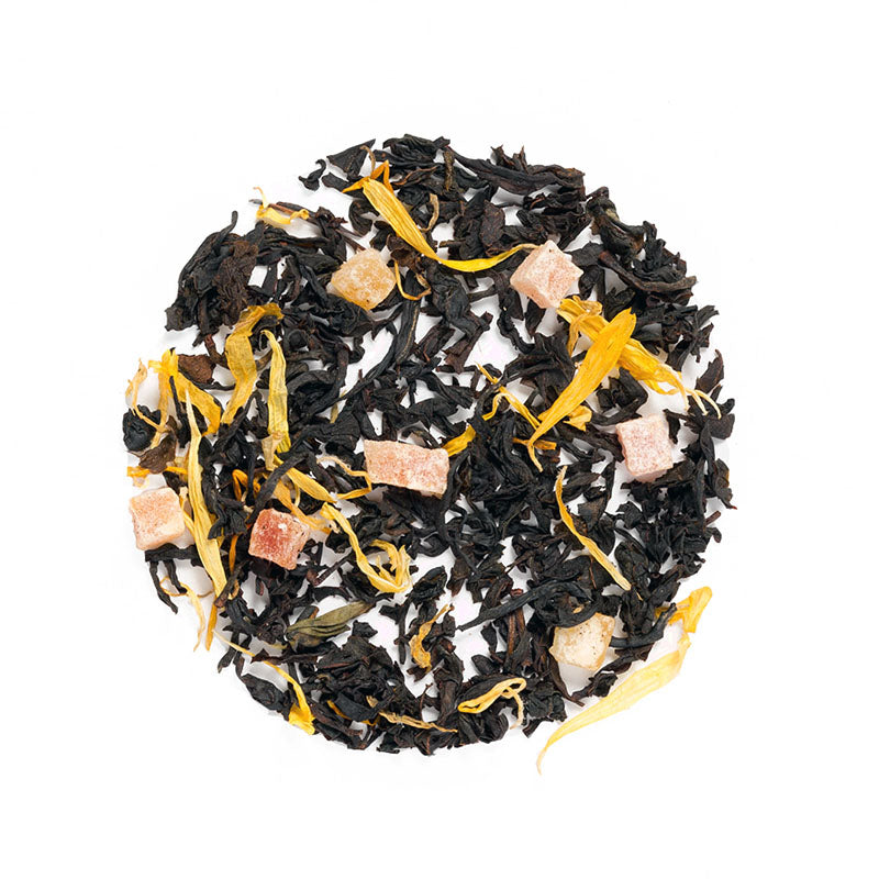 Simple Peach Black Tea - Premium Loose Leaf Black Tea (4 oz) - High Caffeine - All Natural Flavor - 60 Cups