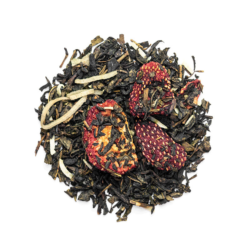 Strawberry Coconut Green - Premium Loose Leaf Green Tea (4 oz) - High Caffeine - Sweet and Fresh - USA Hand Packaged - 60 Cups