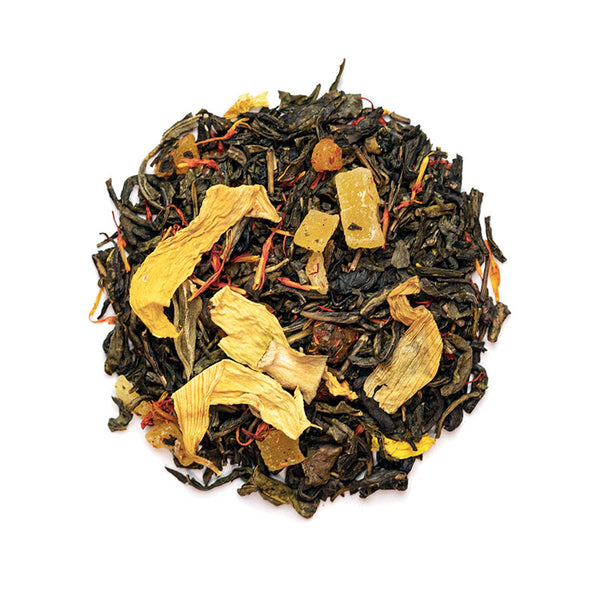 Tropical Green Tea - Premium Loose Leaf Herbal Tea (4 oz) - Caffeine Free - Hint of Mango - 60 Cups