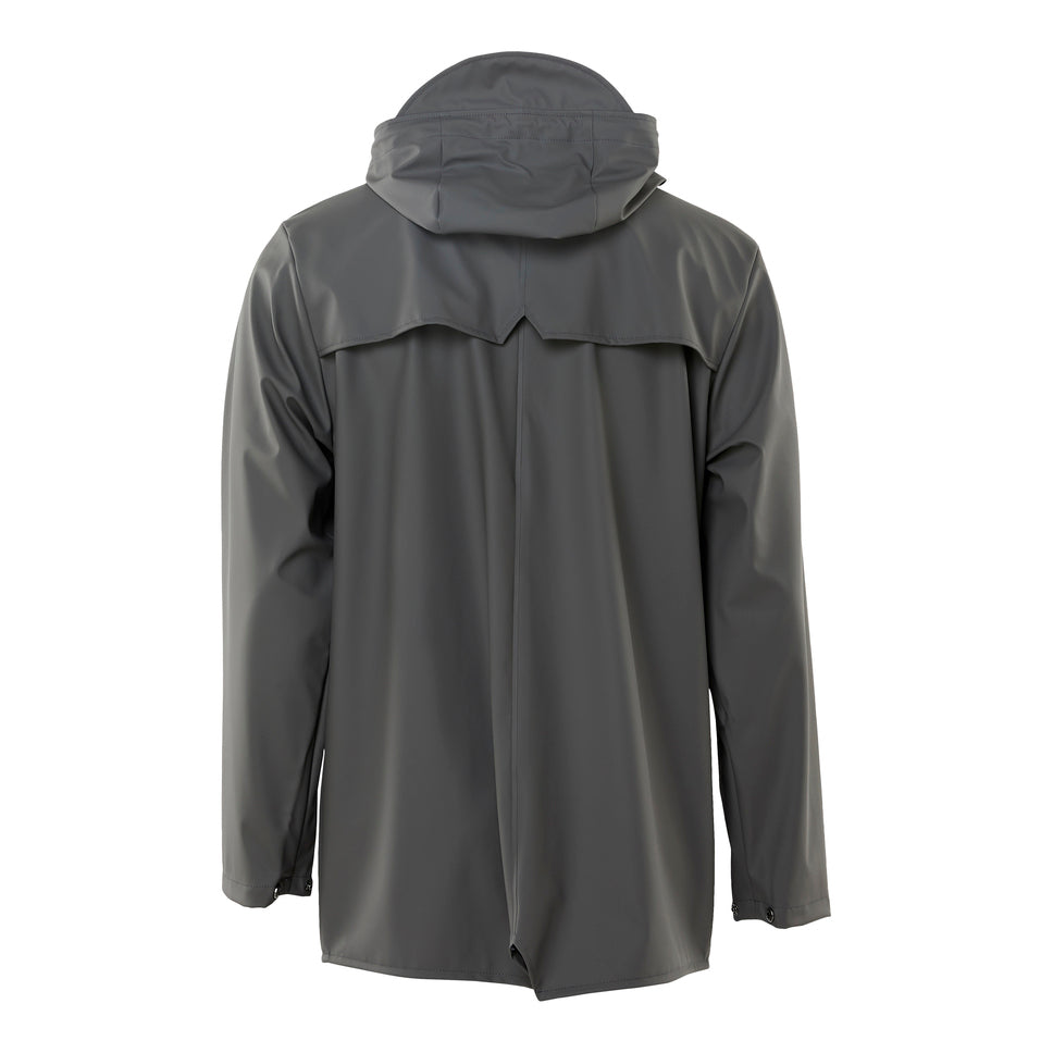 Rains Short Hooded Popper Jacket Charcoal