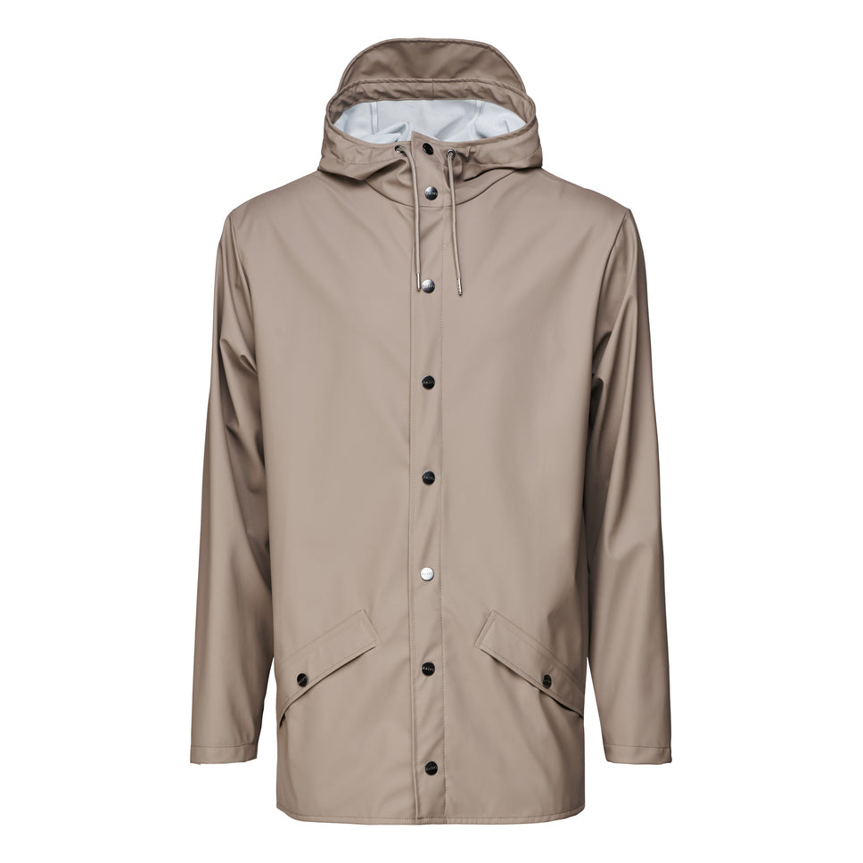 Rains Short Hooded Popper Jacket Taupe - Roulette Clothing