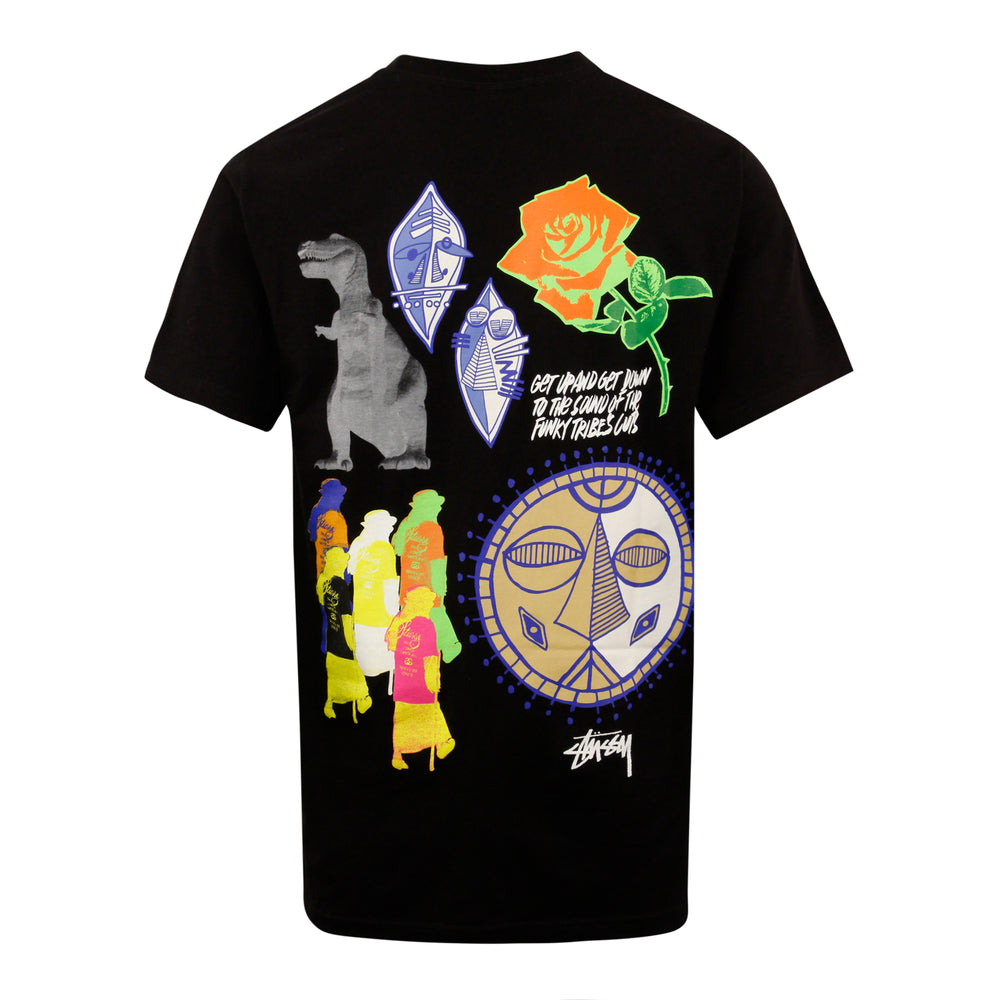 Stussy Funky Tribe Tee Black - Roulette Clothing