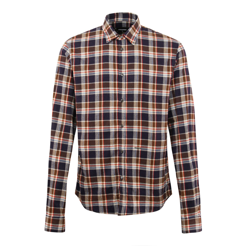 DSQUARED2 Dan Check Flannel Shirt 001F Blue/Brown - Roulette Clothing