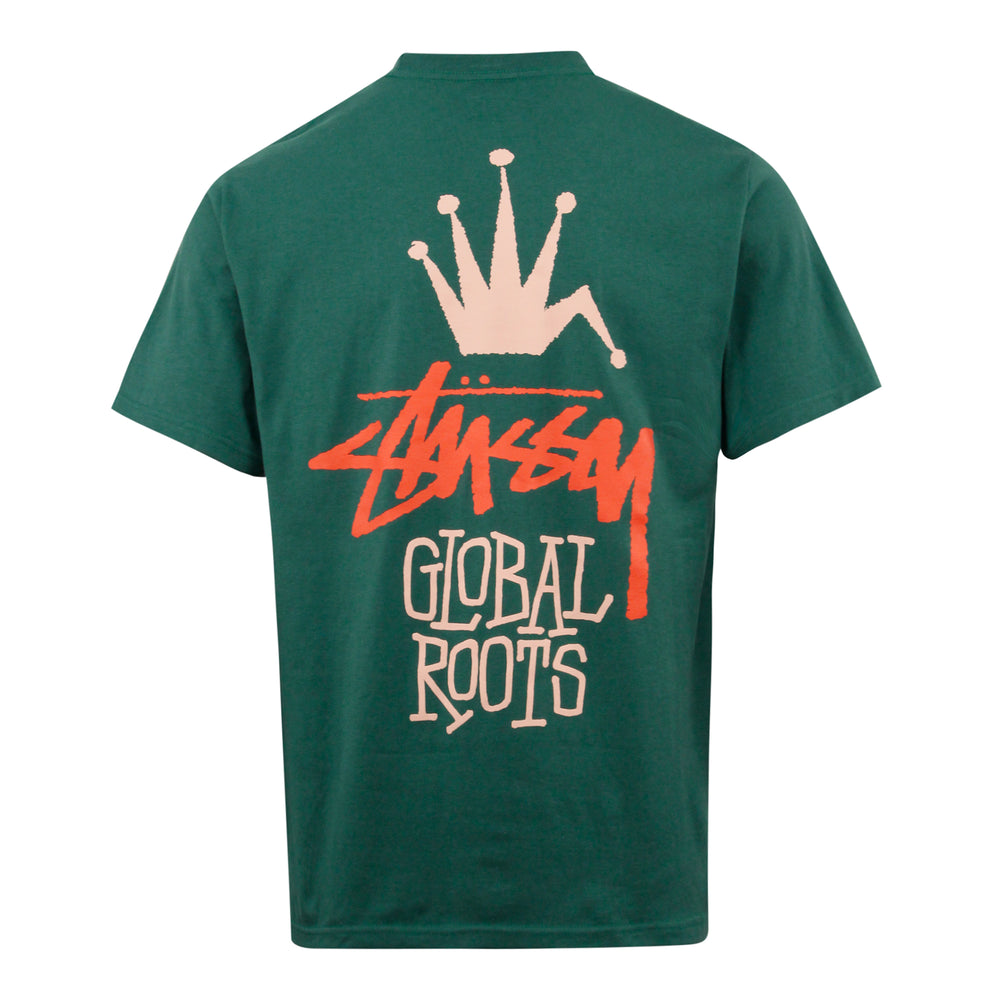 Stussy Global Roots Tee Dark Green - Roulette Clothing