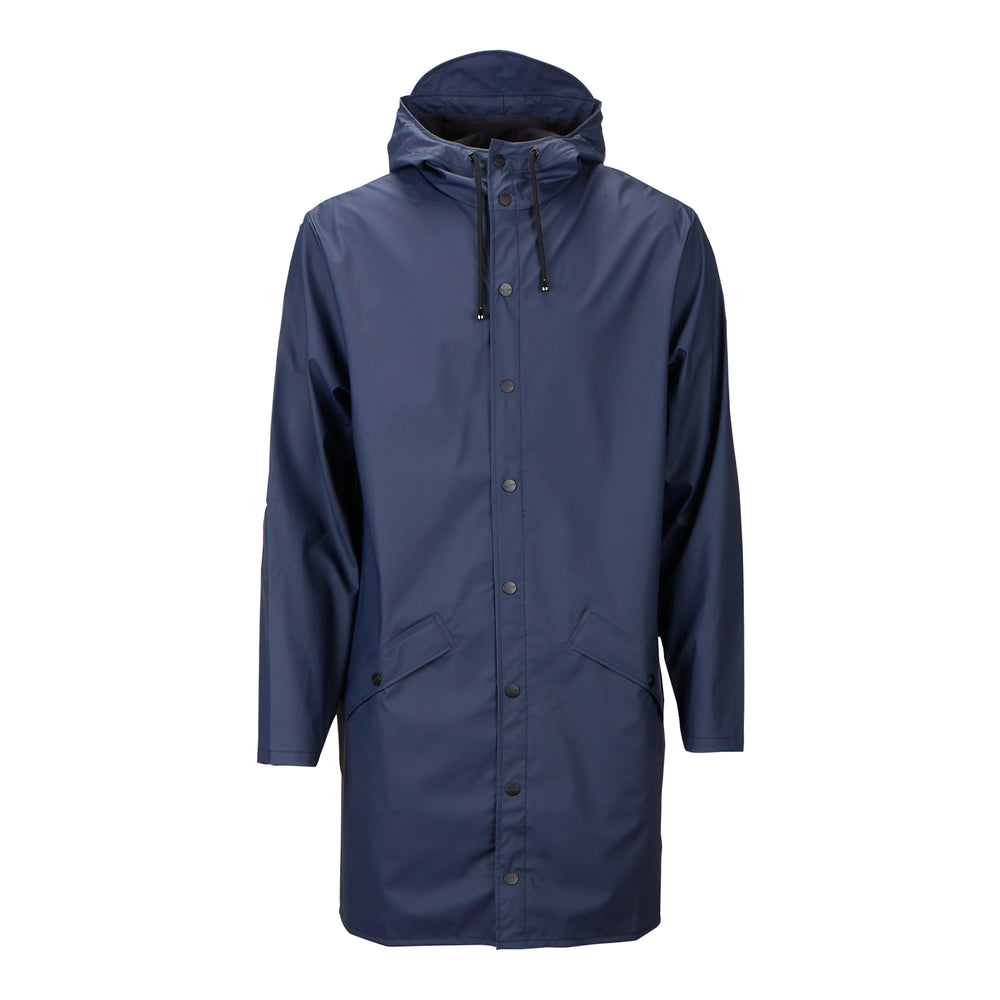 Rains Long Hooded Jacket Blue - Roulette Clothing