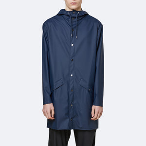 Load image into Gallery viewer, Rains Long Hooded Jacket Blue - Roulette Clothing