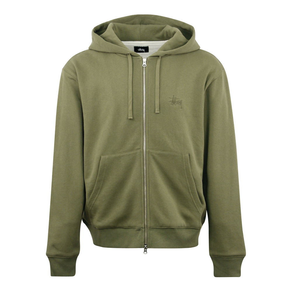 Stussy Thermal Zip Hoodie Green - Roulette Clothing
