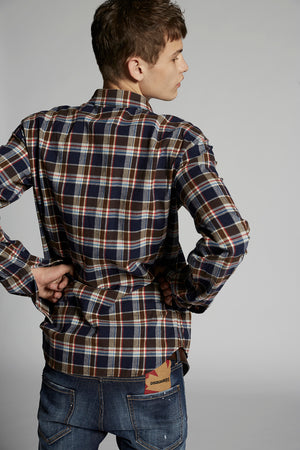 Load image into Gallery viewer, DSQUARED2 Dan Check Flannel Shirt 001F Blue/Brown - Roulette Clothing